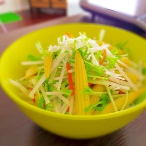 日向夏ポン酢で食べる★大根と水菜のヘルシーサラダ