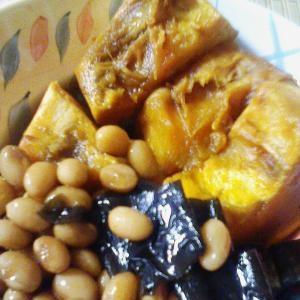 圧力鍋で大豆&かぼちゃの煮物