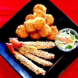 カニの香草パン粉焼き、カニ団子フライも簡単だよ