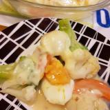 冷凍&レトルトで!野菜とゆで卵のチーズグラタン♪