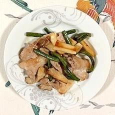 豚肩ロース、にんにくの芽、エリンギの炒め物