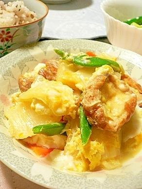 油麩と白菜で作る、とろとろ卵とじ