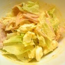 卵のマスタードマヨ和えとハムとレタスのサラダ