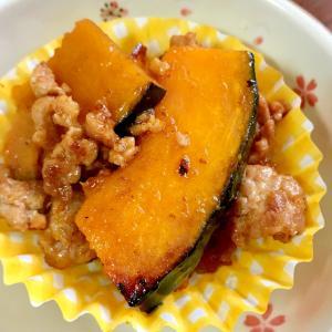 かぼちゃとひき肉のオイスターソース炒め