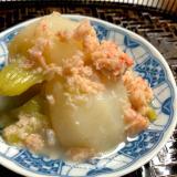 カニ缶でちょっと贅沢❤️かぶと蟹の煮物
