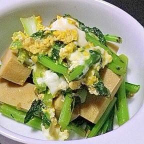 株の葉と高野豆腐の卵とじ
