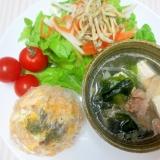 豆腐スープとジャコサラダのダイエットワンプレート