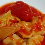 冷凍餃子と白菜のトマト煮