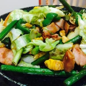 バーベキューの残り材料で野菜炒め