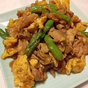 豚こまと卵とアスパラのカレーマヨ炒め