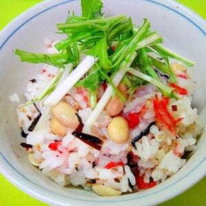 大豆と塩昆布桜海老の混ぜごはん