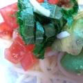 アボカドとトマトの柚子胡椒うどん