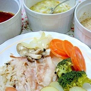 ダイエットレシピ◎蒸し野菜と蒸し豚の盛り合わせ
