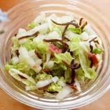 すぐ食べる漬物サラダ!赤小梅干と白菜♪(塩こんぶ)