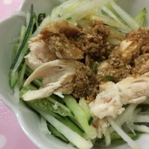 大根ときゅうりとササミの中華サラダ