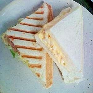 キャベツのホットサンド&たまごサンド(朝食)