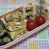 なすの味噌炒めとハムねぎ卵焼きと鰹節お握りの弁当☆
