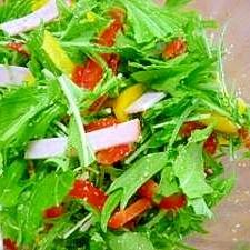 水菜・パプリカ・ハムのごまサラダ