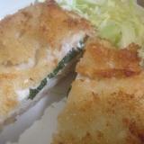 鶏ササミのチーズ、大葉入りフライ