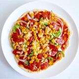 チョリソーとカラフル野菜のピザ