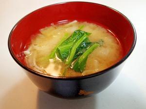 茅乃舎だしで 白菜とえのき茸とほうれん草のお味噌汁