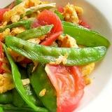 中国の整体の先生の炒め物♪(トマト&卵+絹さや)
