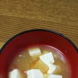 スイカの皮と豆腐のお味噌汁
