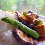 (油を使わず)茄子とアスパラガスのチキンカレー