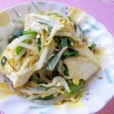 簡単に美味しくなる、ニラともやしと豆腐の卵炒め