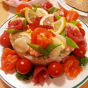 お祝い・パーティーに☆お寿司のお花畑ケーキ♥