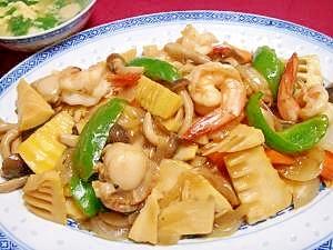 たけのこたっぷり!中華風野菜&海鮮炒め