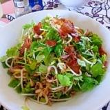 モヤシとパクチーのカリカリベーコンオイルサラダ