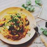 【バター香る】夏野菜とベーコンの和風パスタ