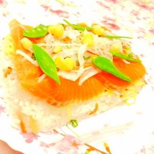 タッパ&ラップde❤サーモンのケーキ寿司❤
