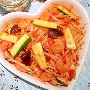 海老と野菜のトマトソース炒め♪