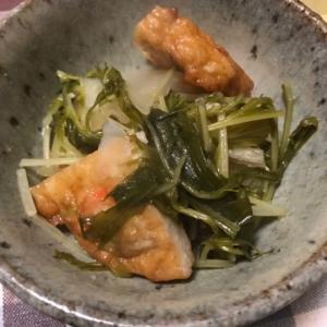 玉ねぎ天と大根、水菜のめんつゆ煮