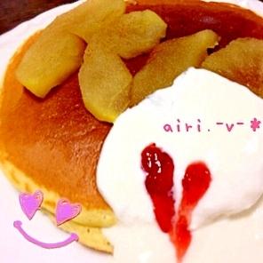 【レンジで!】ホットアップルパイ風ホットケーキ♪