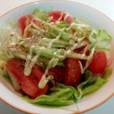 くせになるうま塩で レタス・トマト・胡瓜のサラダ