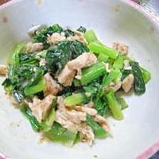 小松菜と蒸し鶏のサラダ