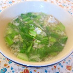 手羽元と小松菜のネギ味噌スープ