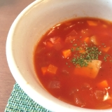 リコピンたっぷり簡単トマトスープ〜トマトジュースで