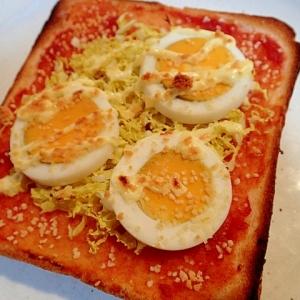 ❤チリソースで 春キャベツとゆで卵のトースト❤