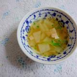冬瓜と豆苗とハムのスープ