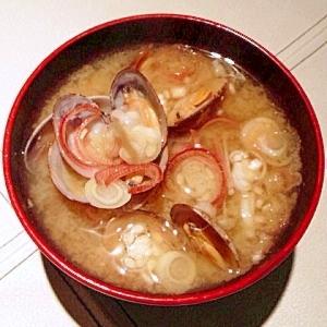 冷凍あさりと茗荷のお味噌汁。