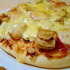 帆立と椎茸のピザ