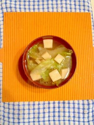 高野豆腐とレタスのコンソメスープ♪