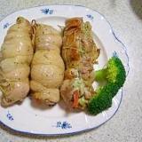 イタリア風バジルソースの野菜チキン巻