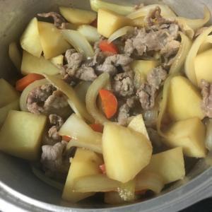 無水鍋で。簡単肉じゃが
