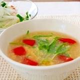 空心菜の新芽と加子母トマトのかき玉中華スープ