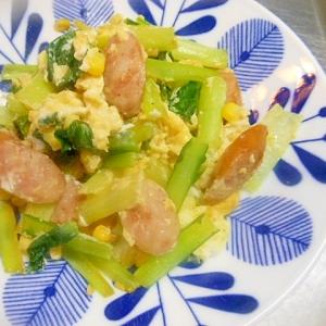 小松菜・ウインナー・コーン・卵の塩炒め